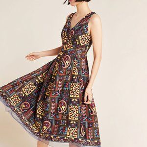 Anthropologie Cecily Embroidered Midi Dress